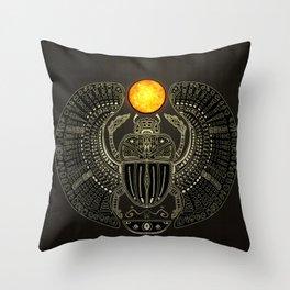 Sacred Scarab (v2) Throw Pillow