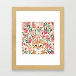 Orange Tabby floral cat head cute pet portrait gifts for orange tabby cat must haves Framed Art Print