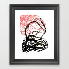 Abstract black and white coral swirl painting home office decor gifts for minimalists Framed Art Print