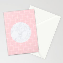 Pink, Grid & Marble Moon Stationery Cards