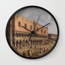 Venice, The Doge's Palace and the Riva degli Schiavoni by Canaletto Wall Clock
