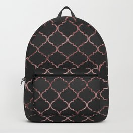Rose gold faux glitter quatrefoil pattern Backpack