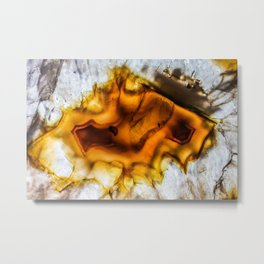 Honey Amber Agate frozen in time Metal Print