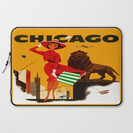 Vintage Chicago Illinois Travel Laptop Sleeve