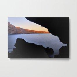 Del Medio Cave. Sunset at the beach. La Gomera Metal Print