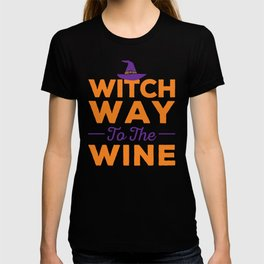 Witch Way to the Wine Halloween Design T-shirt