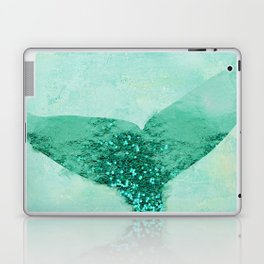 A Mermaid's Tail III, painterly coastal art, aqua metal Laptop & iPad Skin