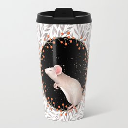 Beautiful nosey Mouse with flower backround- Animal- child -mice- flowers Travel Mug