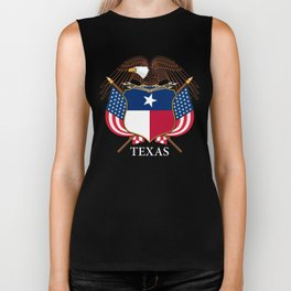 Texas flag and eagle crest concept Biker Tank