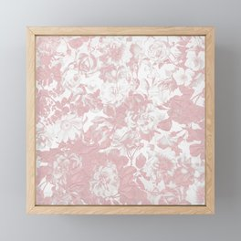 Girly trendy pink coral white lace floral Framed Mini Art Print