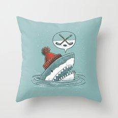 Hockey Shark Throw Pillow