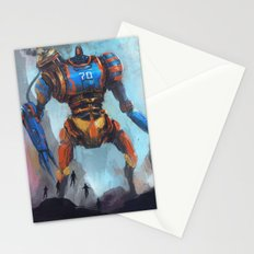 Steampunk giant robot vs five flying heroes Stationery Cards