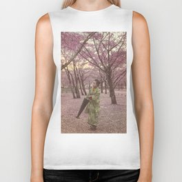 Geisha among Cherry Blossom trees Biker Tank