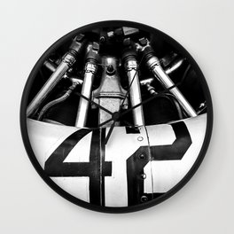 WWII Airplane Propeller in Black and White Wall Clock
