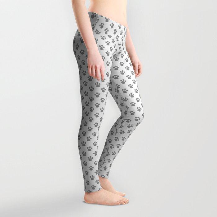 Tiny Paw Prints - Grey on Light Silver Grey Leggings