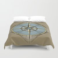 compass Duvet Covers featuring Compass by dhansonart