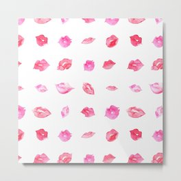 Watercolor pink lips pattern Metal Print