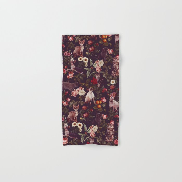 Cat and Floral Pattern Hand & Bath Towel
