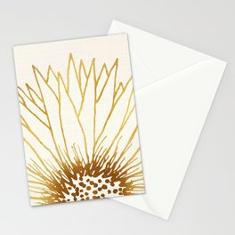 Gold Sunflower II - Wide Pastel Metallic Palette Stationery Cards
