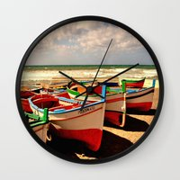 boats Wall Clocks featuring boats by  Agostino Lo Coco