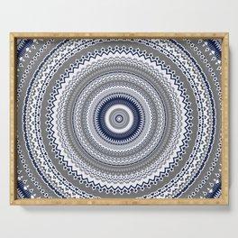 Navy Blue Grey Bohemian Mandala Serving Tray