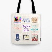 "regina mills Tote Bags featuring Regina ""Sassy"" Mills by CLM Design"