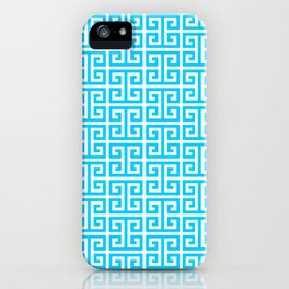 Aqua Blue and White Greek Key Pattern iPhone Case