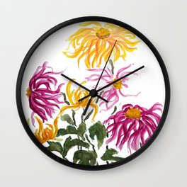 yellow and purple chrysanthemum watercolor Wall Clock