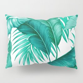 HAWAIIAN GARDEN TROPICAL LEAVES | turquoise white Pillow Sham