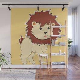 Happy Cartoon Baby Lion Wall Mural