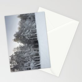 Small woodland path and trees laden with heavy snow. Thetford forest, Norfolk, UK Stationery Cards