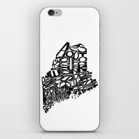 maine iPhone & iPod Skins featuring Typographic Maine by CAPow!