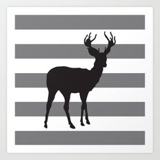 Deer in Black on Grey and White Stripes Art Print