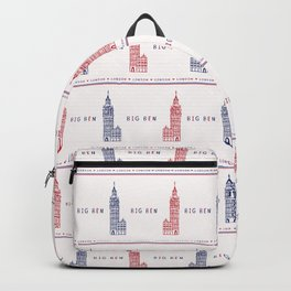 Silhouette London Big Ben Clock Tower seamless pattern. Backpack