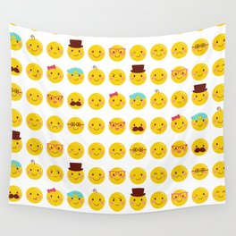 Cheeky Emoji Faces Wall Tapestry