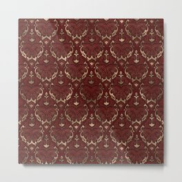Persian Oriental Pattern - Red Leather and gold Metal Print