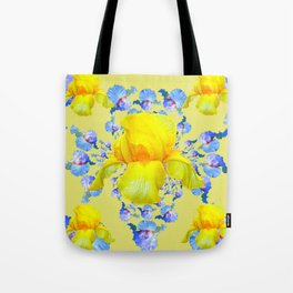 YELLOW & BLUE-WHITE IRIS BLACK ABSTRACT PATTERN Tote Bag