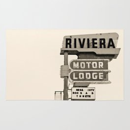 Vintage Neon Sign - Riviera Motor Lodge Rug