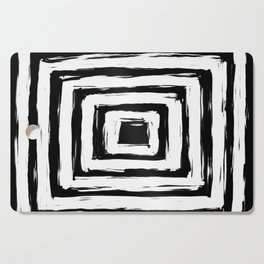 Minimal Black and White Square Rectangle Pattern Cutting Board