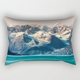 Scenic Alaskan nature landscape wilderness at sunset. Melting glacier caps. Rectangular Pillow