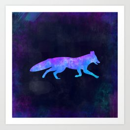FOX IN SPACE // Animal Graphic Art // Watercolor Canvas Painting // Modern Minimal Cute Art Print