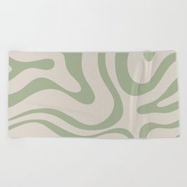 Liquid Swirl Abstract Pattern in Almond and Sage Green Beach Towel