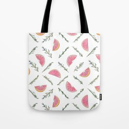 Grapefruit and Rosemary Pattern Tote Bag