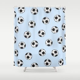 Abstract Black And White Pale Blue Soccer Ball Pattern Shower Curtain