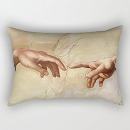 "Michelangelo ""Creation of Adam""(detail) Rectangular Pillow"