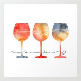Time to Wine Down Watercolour Art Print