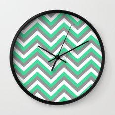 Mint Green, White, and Grey Chevron Wall Clock