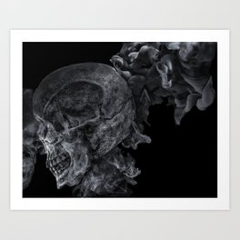 Smoking Skull 2 Art Print