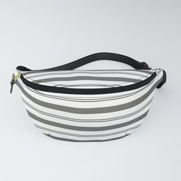 Pantone Pewter Gray and White Stripes, Wide and Narrow Horizontal Line Pattern Fanny Pack