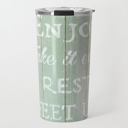 Call to Relax, on Reclaimed Wood Background Travel Mug